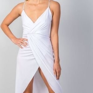 Dresses & Skirts - white hi-low deep plunge summer dress